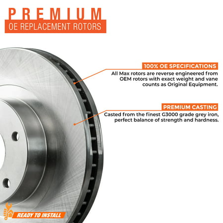 Max Brakes Rear Premium OE Rotors and Ceramic Pads Brake Kit | KT169242-1 - image 2 of 8