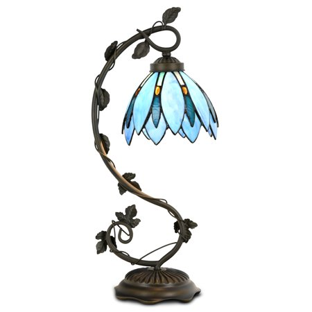 Stained Glass Billiard Light Shade - Cloud Mountain Tiffany Style Table Lamp Light Blue Floral Leaf Lotus Shape Arched Stained Glass Desk Lamp Home Decor Lighting with 7 Inch Lampshade
