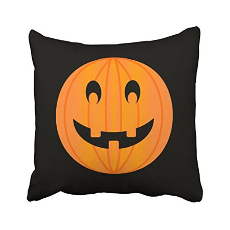 WinHome Cute Vintage Halloween Cartoon Pumpkin Face Laughing Out Loud Simple Pattern Polyester 18 x 18 Inch Square Throw Pillow Covers With Hidden Zipper Home Sofa Cushion Decorative Pillowcases](Halloween Pumpkin Face Cut Out)