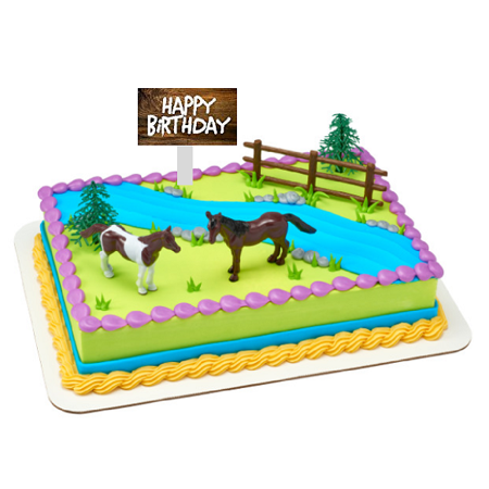 Horses Birthday Party Cake Decoration Topper Kit With Fence And Happy Birthday Plaqu