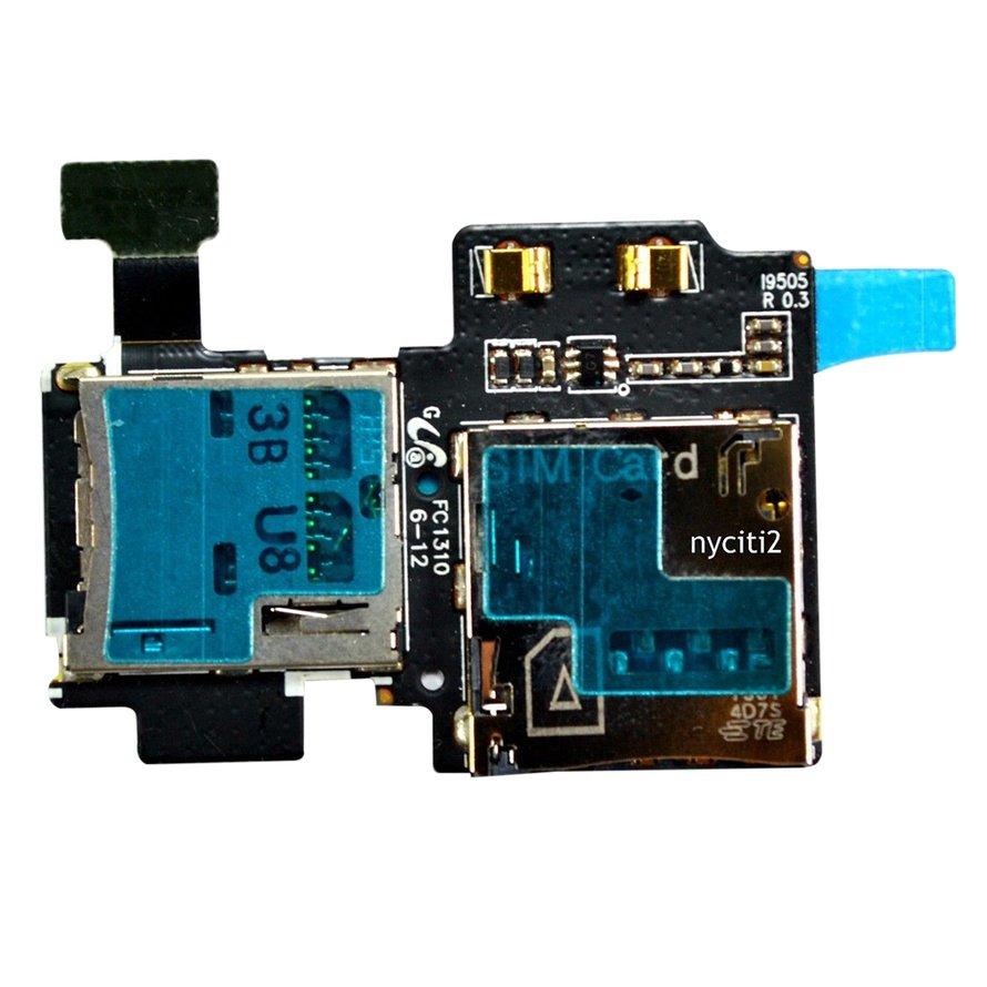 OEM Micro Security D igital Memory+SIM Card Slot Flex For Samsung Galaxy S4