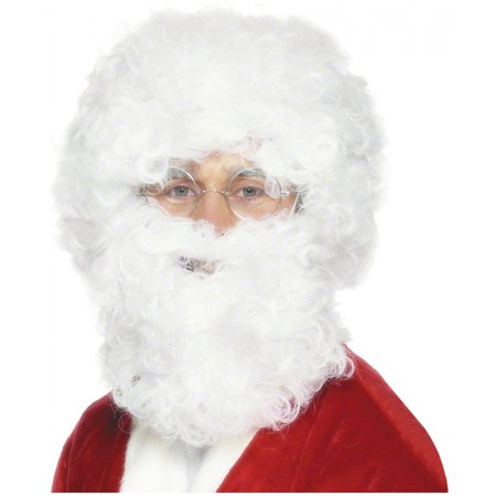 Santa Claus Wig And Beard Set (White Santa Beard and Wig Set Adult Costume)