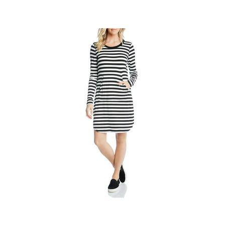 Karen Kane Womens Blue Wave Striped Long Sleeve T-Shirt Dress