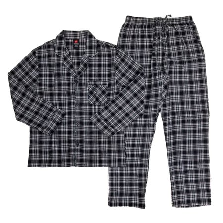 Plaid Flannel Pajama Top - Hanes Mens 2 Piece Black/White/Red Plaid Flannel Shirt & Pants Pajama Sleep Set
