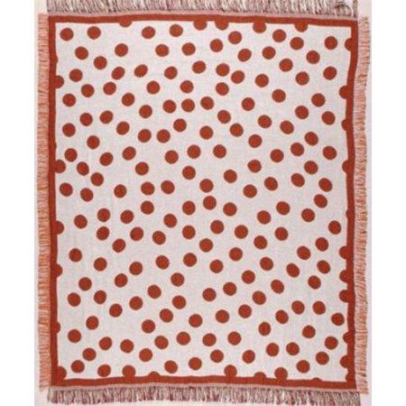 Burnt Orange Polka Dots Retro Afghan Throw Blanket 50  X 60