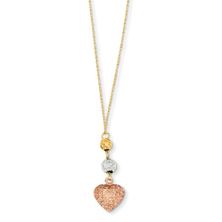 (14K Tri-Color Gold Tri-Color Ropa Diamond-Cut Beads and Heart with 2in Ext Necklace -16