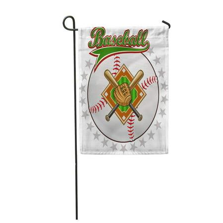 LADDKE Action Baseball Label Ball Bat Base American Glove Catch Champion Garden Flag Decorative Flag House Banner 12x18 inch