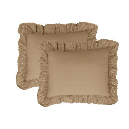 Fresh Ideas Standard Ruffles Eyelet Pillow Sham Set, 2 Piece