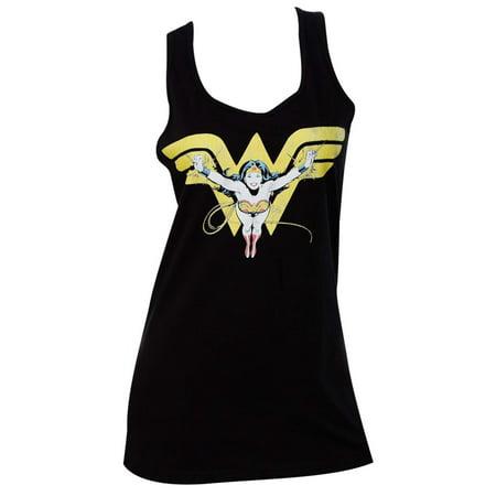 wonder woman flying over logo black womens tank top