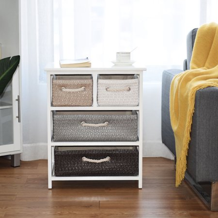 Gymax Storage Drawer Unit 4 Woven Basket Cabinet Chest Bedside Table Nightstand Image 3 Of 10