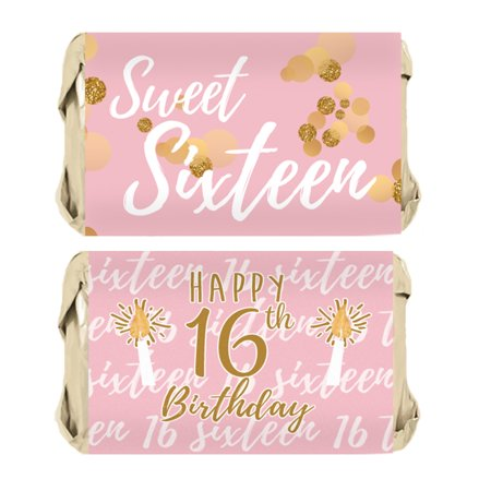Sweet 16 Games Ideas (Sweet 16 Party Favor Candy Wrappers 45ct, Pink and Gold 16th Birthday Party)