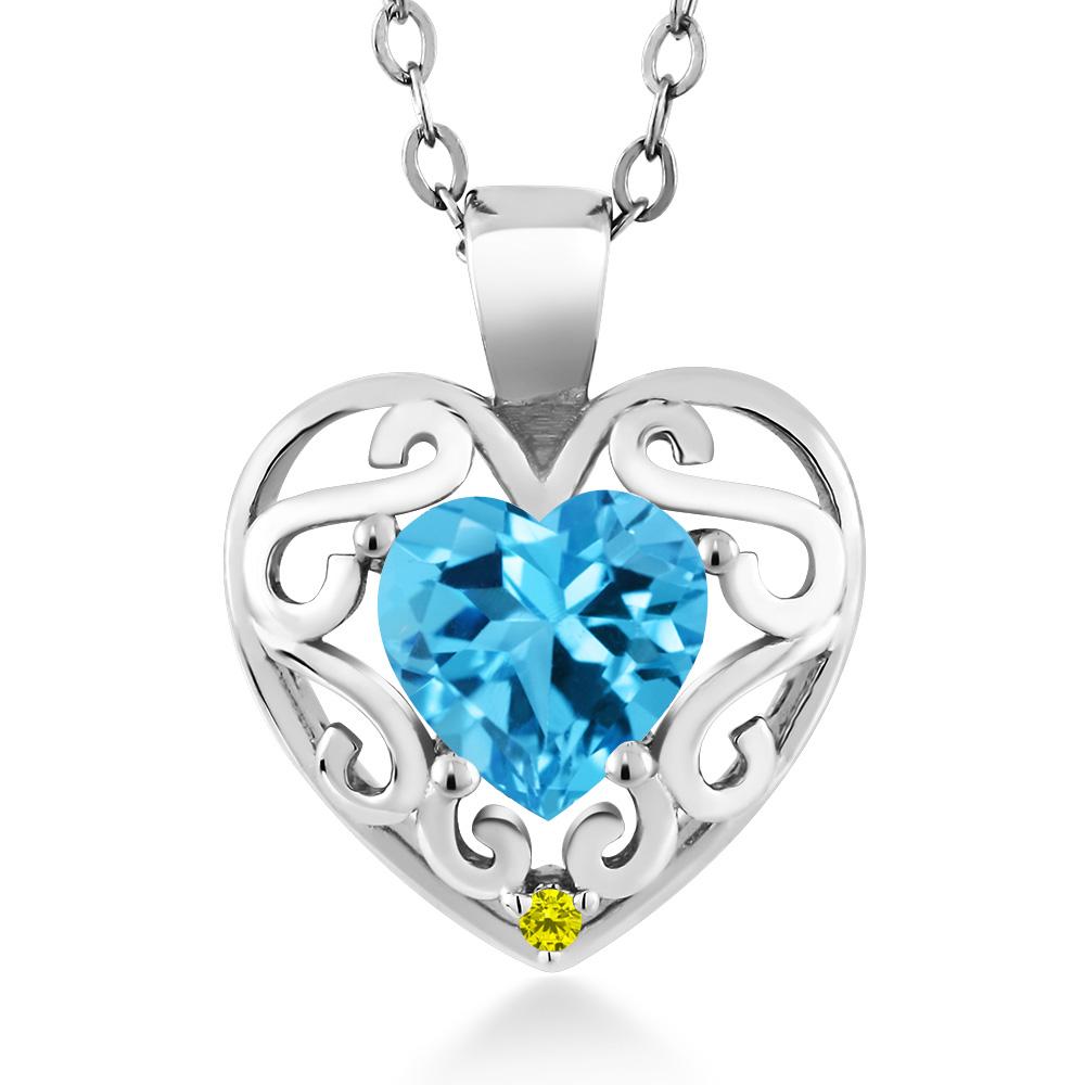 1.01 Ct Heart Shape Swiss Blue Topaz Canary Diamond 14K White Gold Pendant