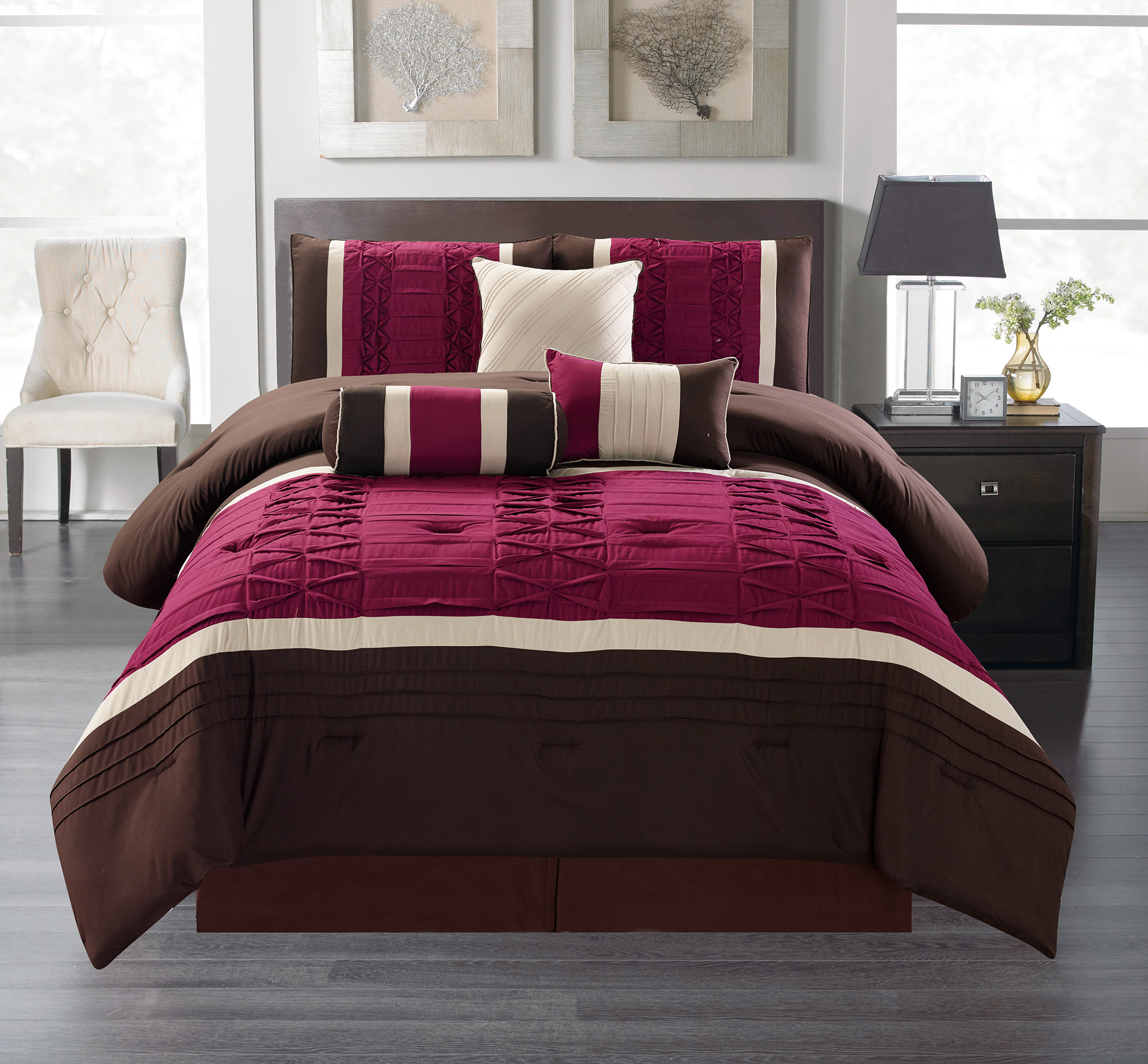 Monroe King Size 7 Piece Ruffled Comforter Bedding Set
