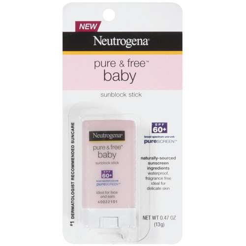 Neutrogena Pure and Free Baby Sunscreen Stick Broad Spectrum SPF 60, .47 oz