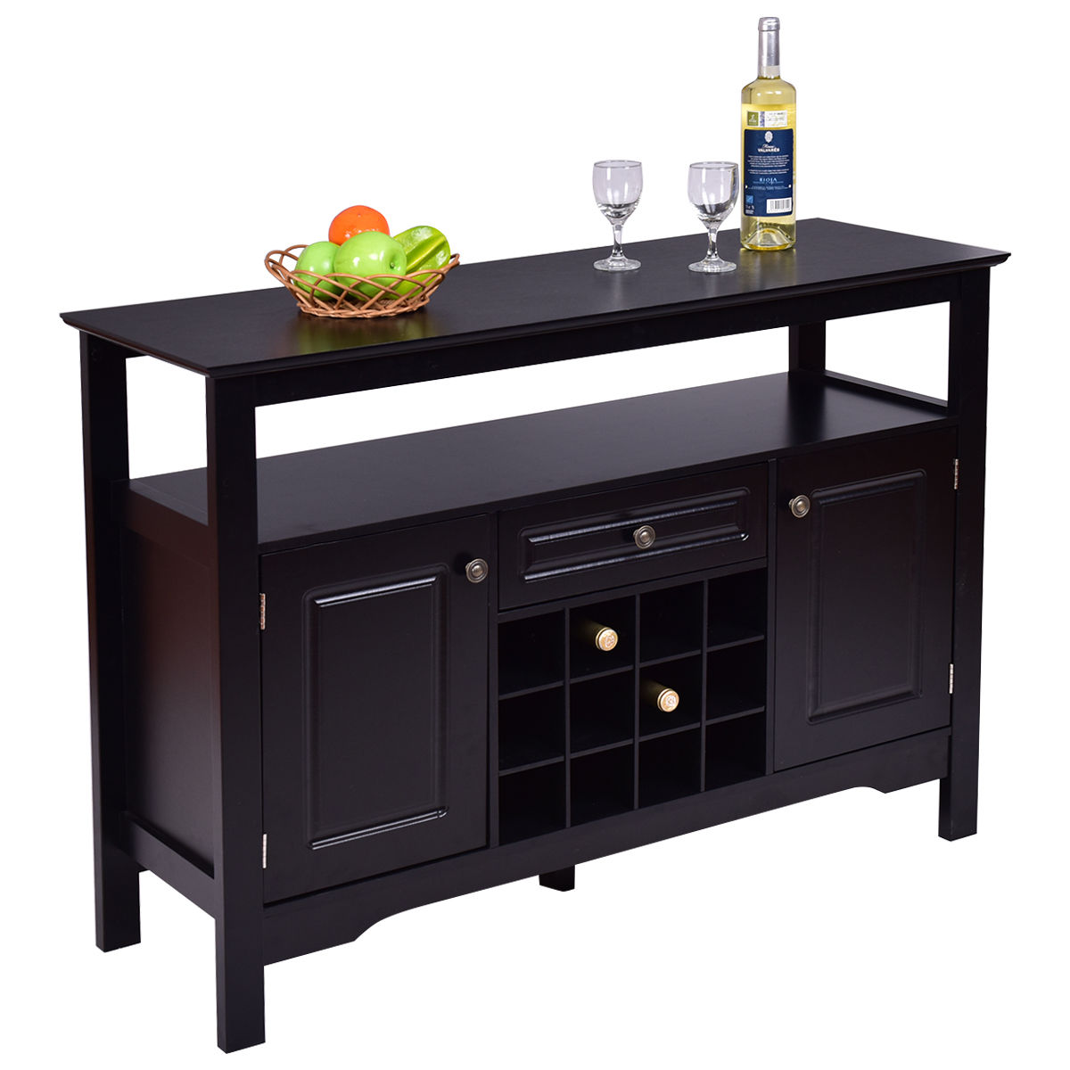 Gymax Storage Buffet Sever Cabinet Sideboard Table Wood Wine Rack by Gymax