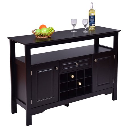 Gymax Storage Buffet Sever Cabinet Sideboard Table Wood Wine Rack
