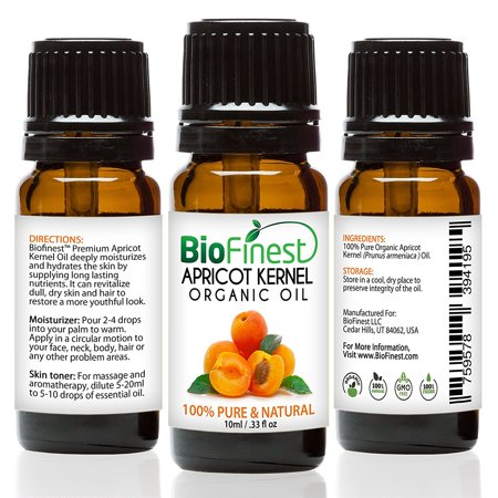 BioFinest Apricot Kernel Organic Oil - 100% Pure Cold-Pressed - Best Moisturizer For Hair Face Skin Acne Sunburn Cuts Wrinkle Scars Eczema - Essential Antioxidant, Vitamin E - FREE E-Book