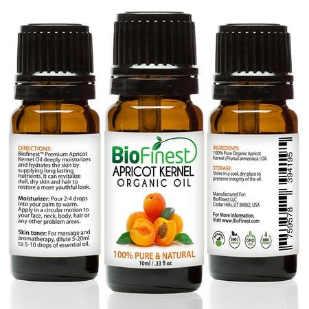 BioFinest Apricot Kernel Organic Oil - 100% Pure Cold-Pressed - Best Moisturizer For Hair Face Skin Acne Sunburn Cuts Wrinkle Scars Eczema - Essential Antioxidant, Vitamin E - FREE E-Book