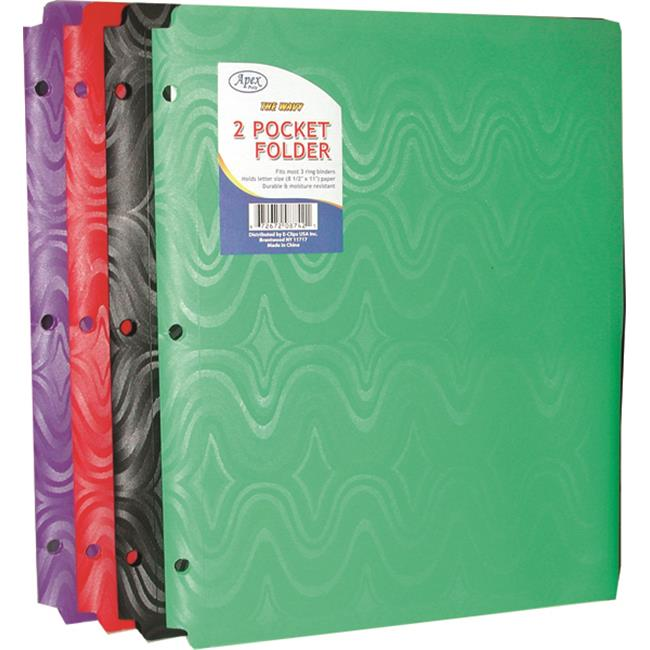 DDI 1294684 Two Pocket Plastic Folders - Snap IN - 9. 5 inch x11. 5 inch Case Of 48