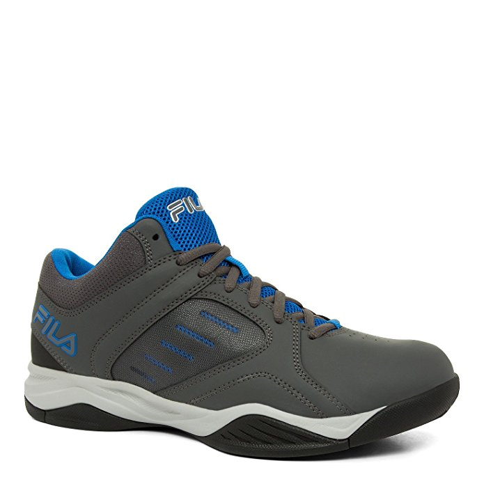 Fila BANK Mens Grey Blue Low Top Athletic Basketball Sneakers Shoes by Fila