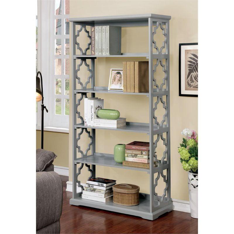 Furniture of America Vera Contemporary 5 Shelf Bookcase in Gray