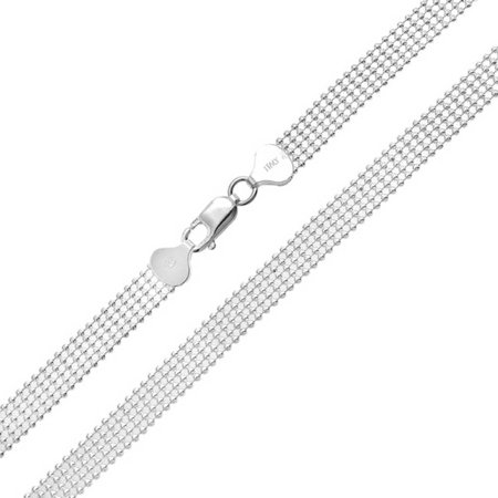 Mesh Five Row Shot Bead Ball Chain Necklace For Women Solid Strong 925 Sterling Silver Made In Italy 16 Inch