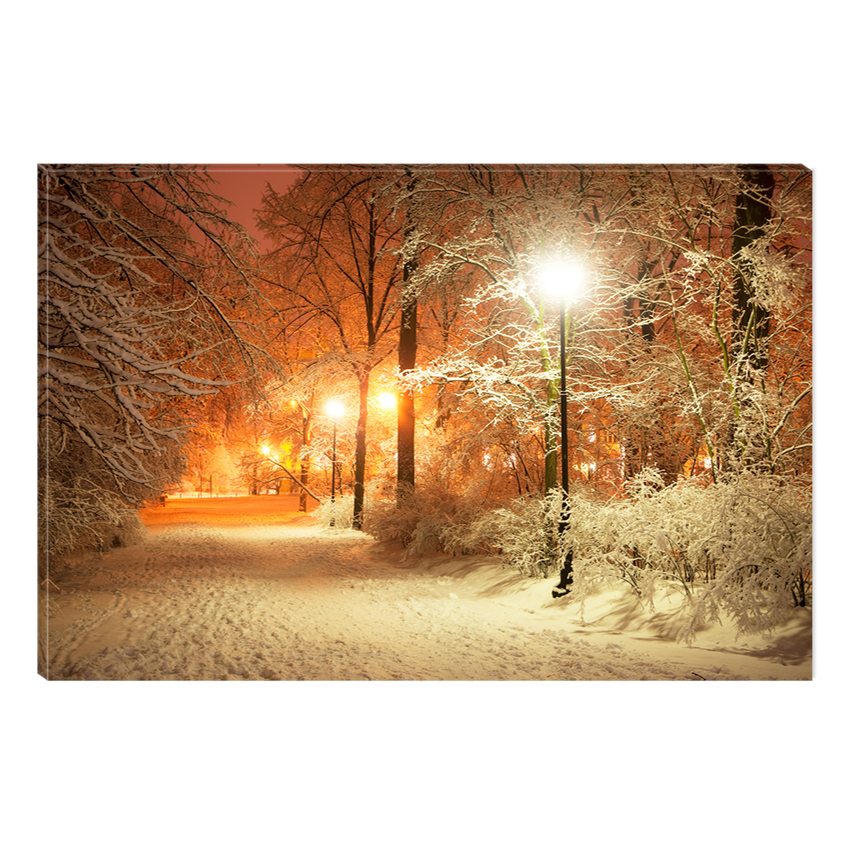 Startonight Canvas Wall Art Winter in Park, Illuminated Landscape Artwork Painting 5 Stars