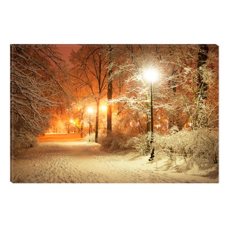 Startonight Canvas Wall Art Winter in Park, Illuminated Landscape Artwork Painting 5 Stars Gift 23.62 X 35.43 (5 Piece Canvas Wall Art Star Wars)