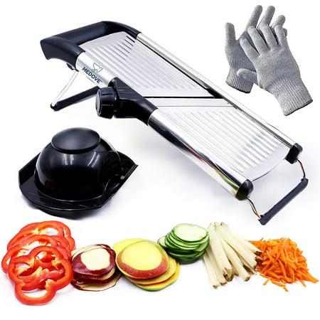Mandoline Slicer. Vegetable Potato Slicer. Julienne Slicer. Onion Cutter. With Stainless Steel Adjustable Blade. Cut Resistant Gloves Included.