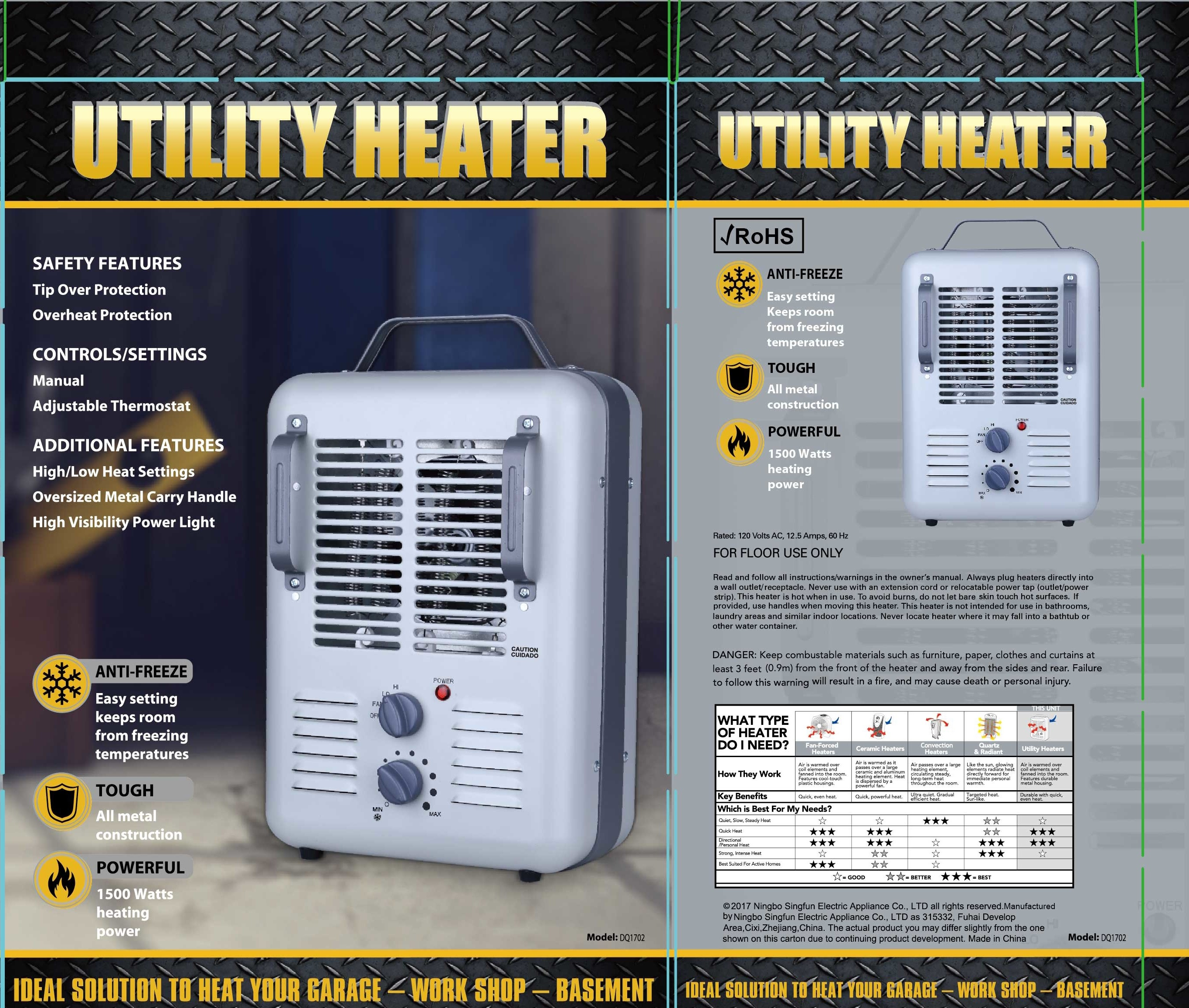 Patton 1500 Watt Utility Heater Wiring Diagram Free Download Oasis Ceramic Milkhouse Style Electric Space Dq1702 Walmart Com At