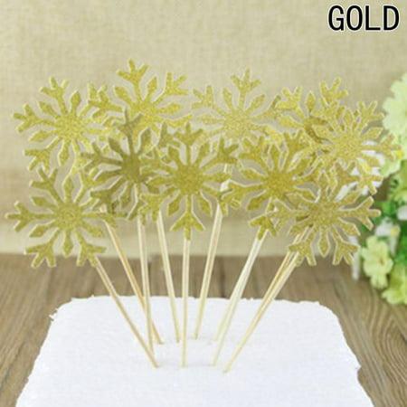 AkoaDa 20 Pcs Snowflake Cupcake Toppers Silver Glitter Snowflake Cake Topper Picks for Christmas Party Decoration ()