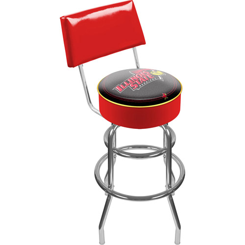 "Trademark NCAA Illinois State University 40"" Padded Bar Stool with Back, Chrome"