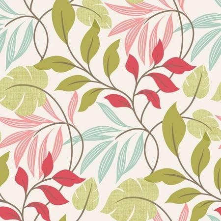 Pink Halloween Wallpaper (Brewster Clementine Pink Modern Leaf Trail)