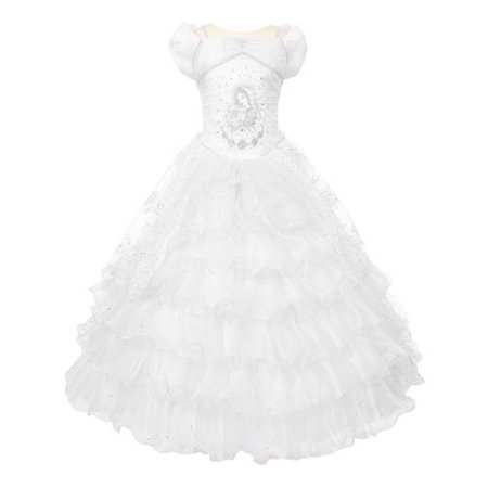 Rainkids Girls White Virgin Mary Sparkly Tulle Organza Communion Dress 14 - Communion Dress Sale