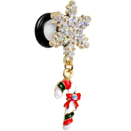 Body Candy Stainless Steel Snowflake and Candy Cane Christmas Single Flare Dangle Plug (1 Piece) 0