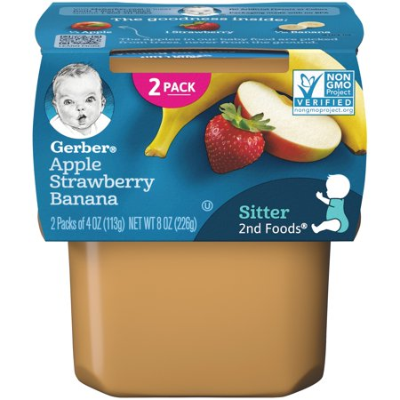 Gerber 2nd Foods Apple Strawberry Banana Baby Food, 4 oz. Tubs, 2 Count (Pack of (Best Strawberry Banana E Liquid)