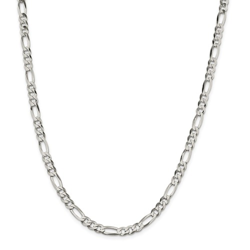 Sterling Silver 8in 5.5mm Polished Flat Men's Figaro Chain Bracelet