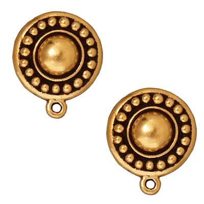 22K Gold Plated Pewter Beaded Clip On Earrings 16mm