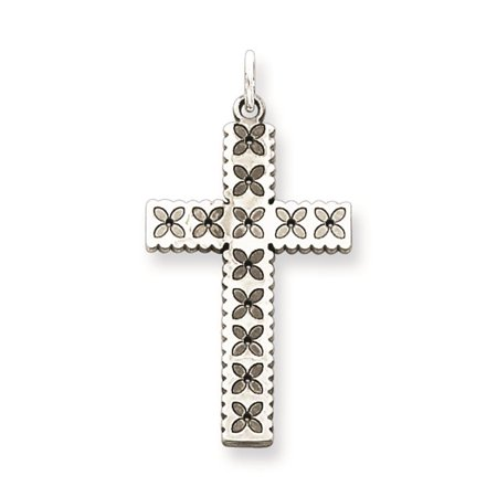 Laser Etched Cross Polished Charm Pendant 25mmx13mm 925 Sterling Silver ()