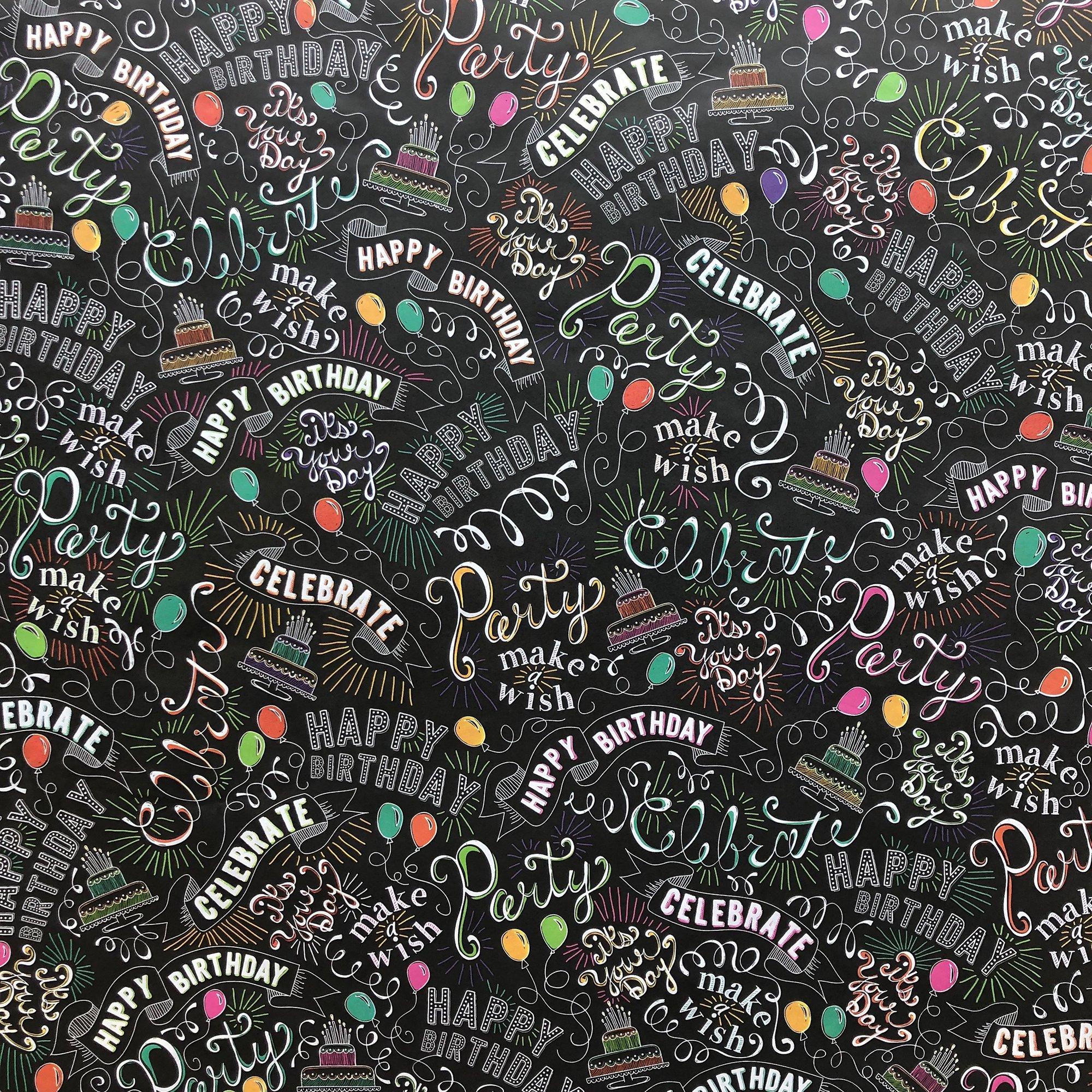 "Jillson & Roberts Bulk Gift Wrap, Birthday Chalk, 1/2 Ream 417' x 30"""