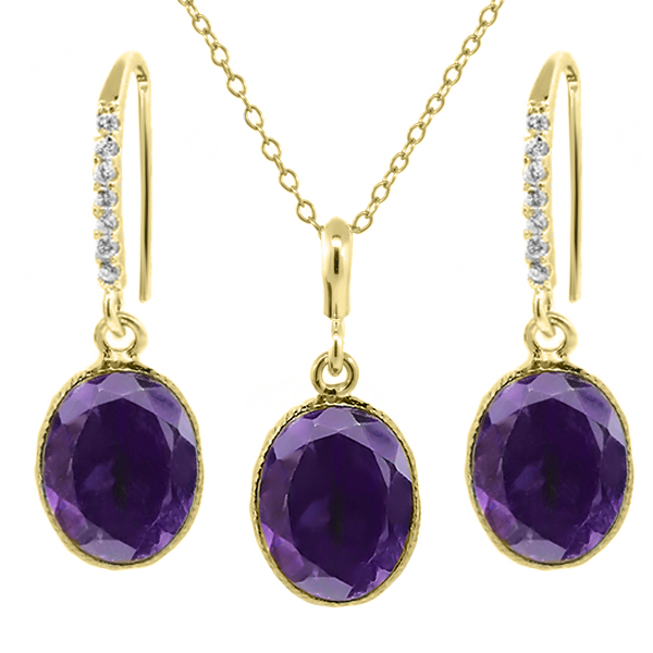 "15.00 Ct Purple Amethyst 14x10mm Oval Gold Plated Silver Jewelry Set 18"" Chain by"
