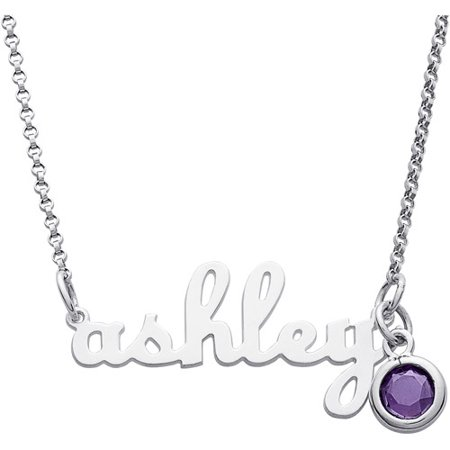 Personalized Womens Sterling Silver Lowercase Script Name Necklace With Birthstone