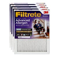 Filtrete 16x25x1, Advanced Allergen, Virus and Bacteria Reduction HVAC Furnace Air Filter, 1500 MPR, Pack of 4 Filters