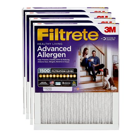Filtrete 16x25x1, Healthy Living Advanced Allergen Reduction HVAC Furnace Air Filter, 1500 MPR, Pack of 4 (Best Hvac Air Filter Brands)