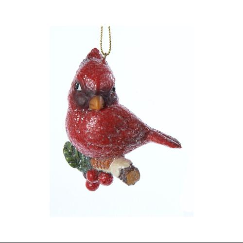 "3"" In the Birches Vintage-Style Cardinal with Holly Berries Christmas Ornament"