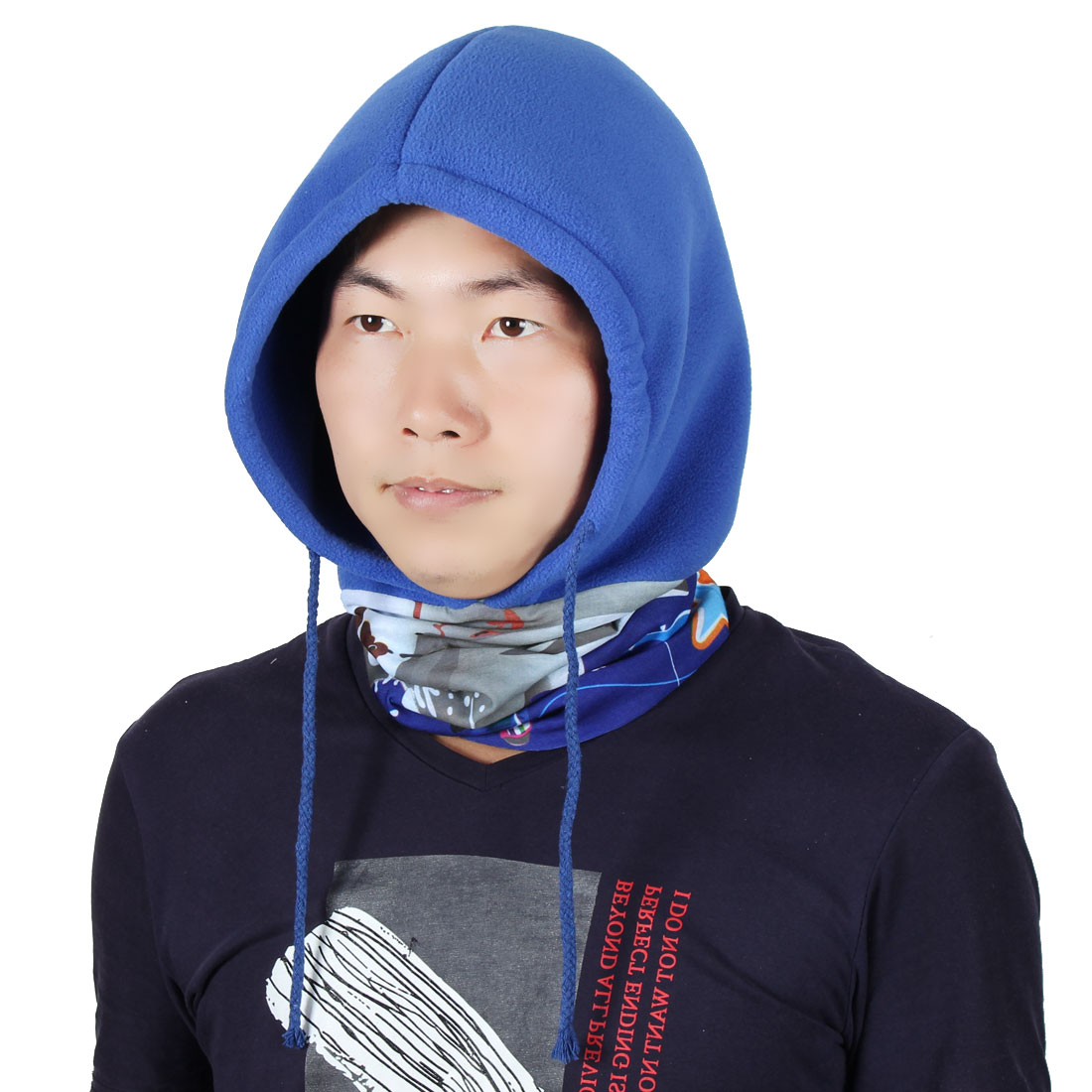 Adjustable Rope Riding Double Layer Head Wrap Neck Protector Balaclava Dark Blue by Unique-Bargains