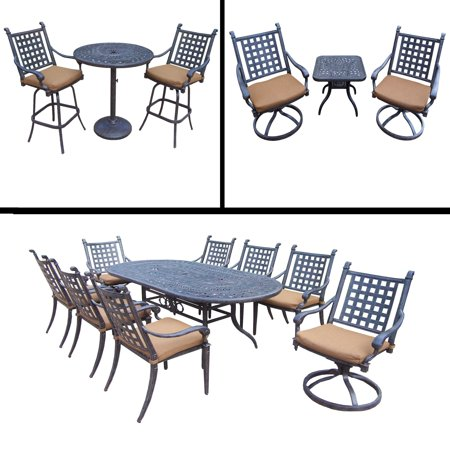15pc Black and Brown Dining, Bar Patio, Swivel Rockers Chat Furniture Sets