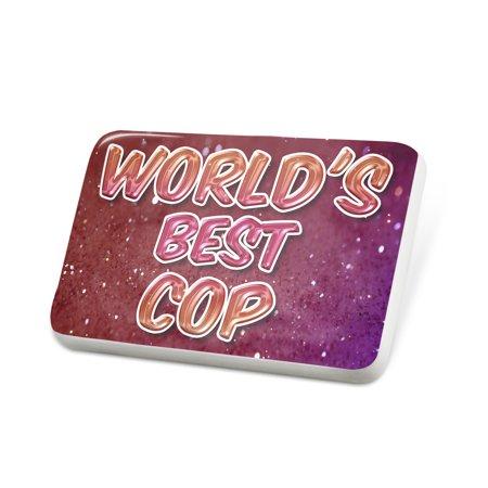Porcelein Pin Worlds best Cop, happy sparkels Lapel Badge – NEONBLOND](Fake Cop Badge)