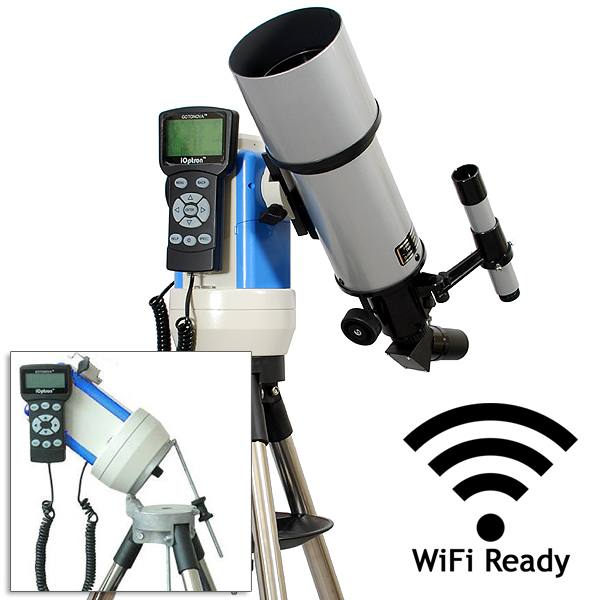 Twinstar 80mm GPS Computerized Refractor Telescope with EQ Mount and iOptron StarFi Wi-Fi Adapter, Silver