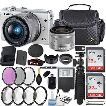 Canon EOS M100 24.2MP Mirrorless Digital Camera (White) + EF-M 15-45mm f/3.5-6.3 IS STM Lens (Silver) + 48GB Memory + Filters & Macros + Spider Tripod + Slave Flash + Professional Accessory Kit (Digital Professional Camera Canon)